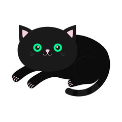 Cute lying black cartoon cat with moustache whisker. Funny character. White background. Isolated. Flat design.
