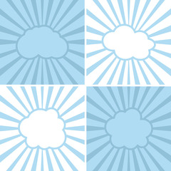 Clouds flat icons on striped background
