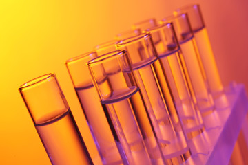 Test tubes on colourful background