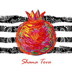 Greeting card wiyh symbol of Rosh Hashanah (pomegranate). Jewish new year celebration design. Happy Shana Tova. Happy New Year in Israel