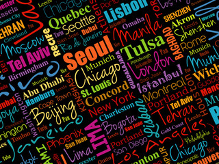 The largest cities in the world word cloud collage background, business concept