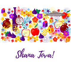 Greeting card wiyh symbols of Rosh Hashanah: apple, fig, pomegranate, wine bottle, honey comb, flowers, fish, house. Jewish new year celebration design. Happy Shana Tova. Happy New Year in Israel