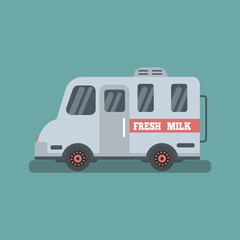 Milk dairy products delivery car.