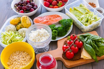 Health & Fitness Food in lunch boxes. Set meal for the whole day