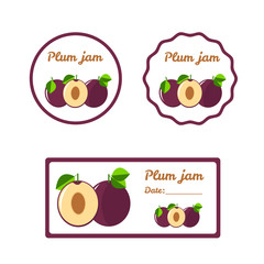 Plum jam - colorful label set