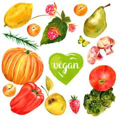 Vegan banner with watercolor food drawings, butterflies