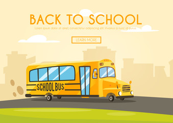 Vintage yellow school bus. Cartoon vector illustration