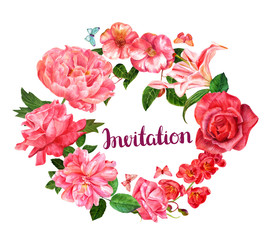 Invitation with vintage watercolor flowers and butterflies