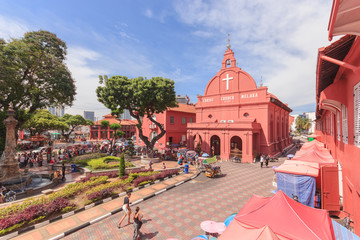 MALACCA, MALAYSIA - 12 AUGUST 2016: A view of Christ Church & Dutch Square on August 12, 2016 in Malacca, Malaysia. It was built in 1753 by Dutch. Wall mural