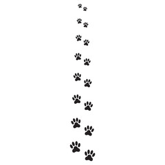 Animals pawprints or footprints isolated on white background. Animal paw icon or sign. Vector illustration.