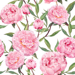 Peony pink flowers. Floral seamless pattern. Watercolor