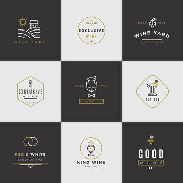 Wine card vector logo set