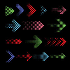 Wall Mural - Color dotted arrow vector icons with halftone effect