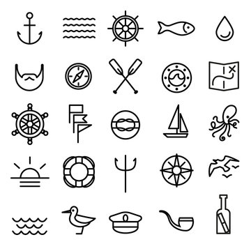 Nautical, marine line icons set