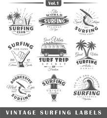 Set of vintage surfing labels. Vol.1