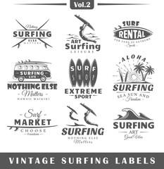 Set of vintage surfing labels. Vol.2