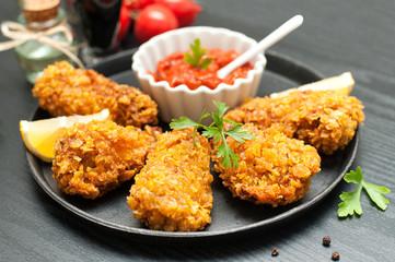 Fried chicken wings - breaded