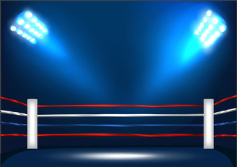 Boxing ring corner with spotlight.