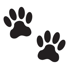 Animal pawprints or footprints isolated on white background. Animal paw print icon. Vector illustration.