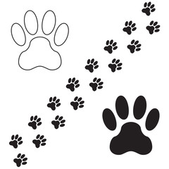 Animal paw print icon set. Animal pawprints or footprints isolated on white background. Vector illustration.