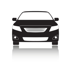 Car front icon. Black vehicle silhouette isolated on white background. Vector illustration.