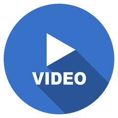 Flat design blue round web video vector icon