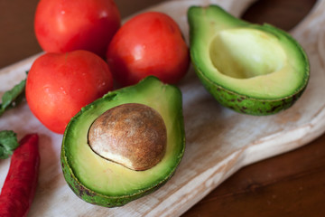Avocado, tomato and chilly pepper for guakamole