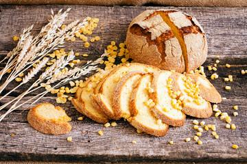 Round corn bread with decoration