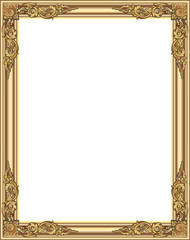 Gold photo frame with corner line floral for picture, Vector design decoration pattern style