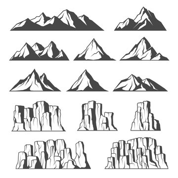 Mountains and cliffs icons
