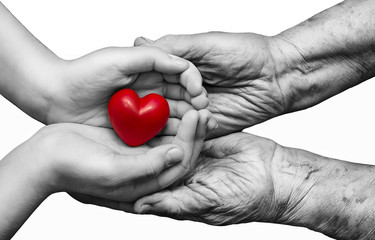 little girl and elderly woman keeping red heart in their palms t