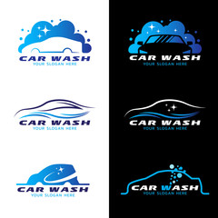 car wash service logo vector set design