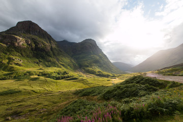 Three Sisters Gebirge im Glen Coe Tal in den Highlands, Schottland