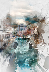 Luxury yachts in Port Le Vieux, France. Digital watercolor painting
