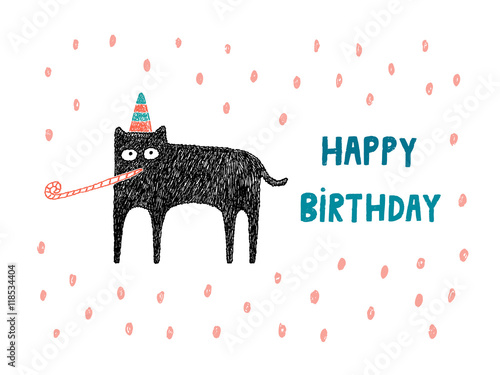 Happy Birthday Card Cat With Hat And Party Blower Vector Illus