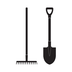 Shovel and rake icon or sign isolated on white background. Gardening tools design. Vector illustration.