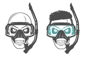Set of skull scuba diving mask.