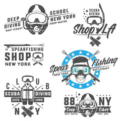 Set of scuba diving elements for emblems,logo ,prints,tattoo,label and design.