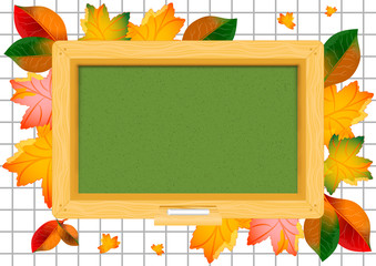 Postcard for Knowledge Day. Back to school. Green school board and autumn leaves around on page of notebook in cage. Raster illustration