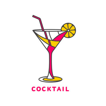 colorful abstract cocktail logo, vector illustration isolated on white background. Modern alcoholic beverage icon, cocktail glass symbol with straw and umbrella. Artistic vector cocktail logo