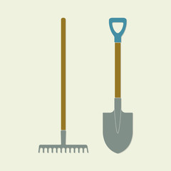 Shovel and rake. Colorful gardening tools. Flat design. Vector illustration.
