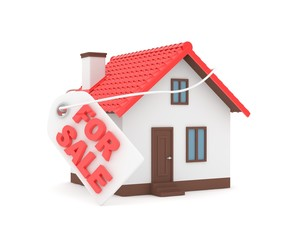 Miniature model of house real estate for sale label on white background. 3D rendering.