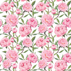Peony pink flowers. Floral repeating pattern. Watercolor