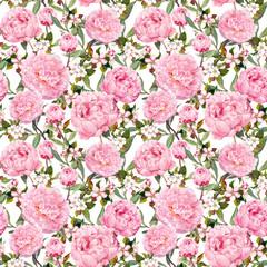 Peony flowers, sakura. Repeating pink floral background. Watercolor
