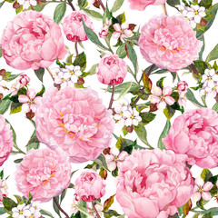 Peony flowers, sakura. Floral seamless background. Watercolor