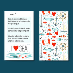 Set of 2 cards templates with sea background