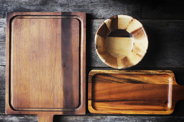 Kitchen utensils over wood background wooden table with copy space. top