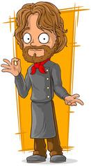 Cartoon bearded chef in black clothing