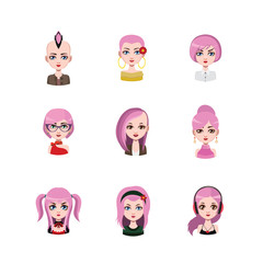 Women avatar with pink hair #2