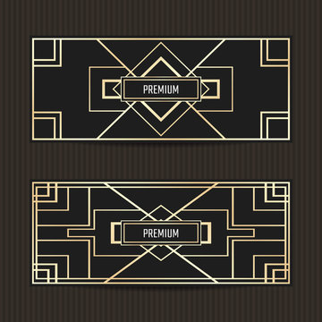 Set of two gift vouchers in Art Deco style. Gift card template. Coupon discount collection. Art Deco tickets.